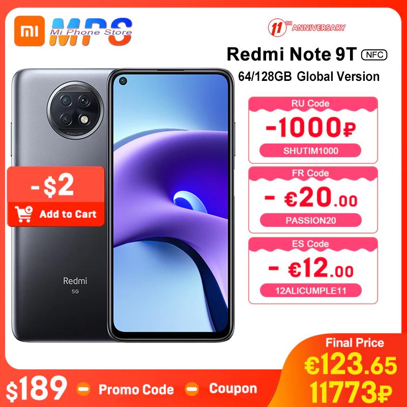 """Smartphone 6.53"""" Xiaomi Redmi Note 9T 5G - 64 Go (152.89 € avec le code PASSION20)"""