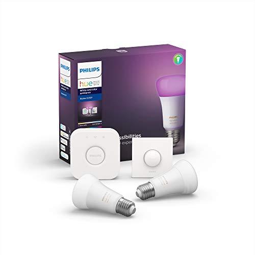 Kit de démarrage Philips Hue - 2 ampoules LED E27 White & Color + pont de connexion + interrupteur Smart Button (frais de douanes inclus)