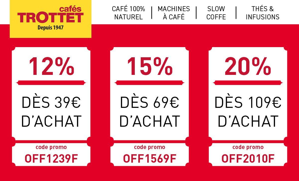 12% de réduction dès 39€ d'achat sur tout le site, 15% dès 69€ d'achat et 20% dès 109€ d'achat