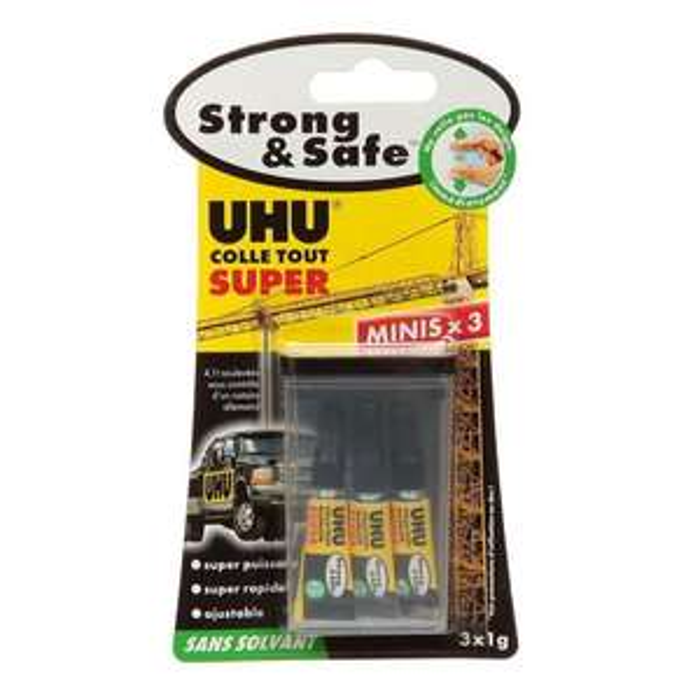 Lot de 3 tubes de colle UHU Strong and Safe - 3 g