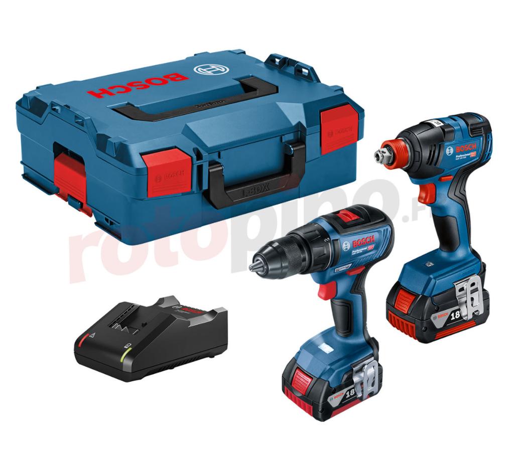 Kit perceuse-visseuse GSR 18V-50 + clé à chocs GDX 18V-200 + 2 batteries 4Ah + chargeur + Lboxx (rotopino.fr)