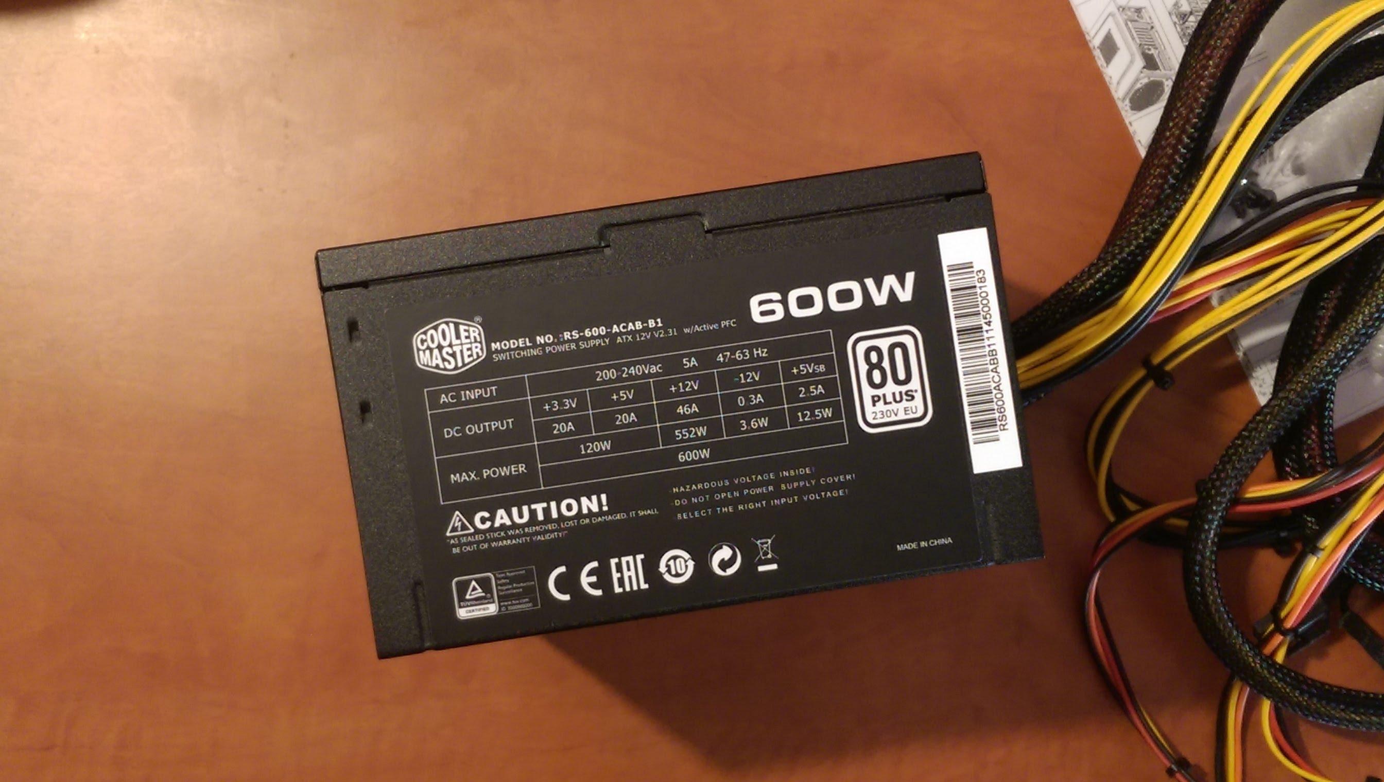 alimentation Cooler Master RS600-ACABB1-EU Onduleur 12 V 80+ non modulaire