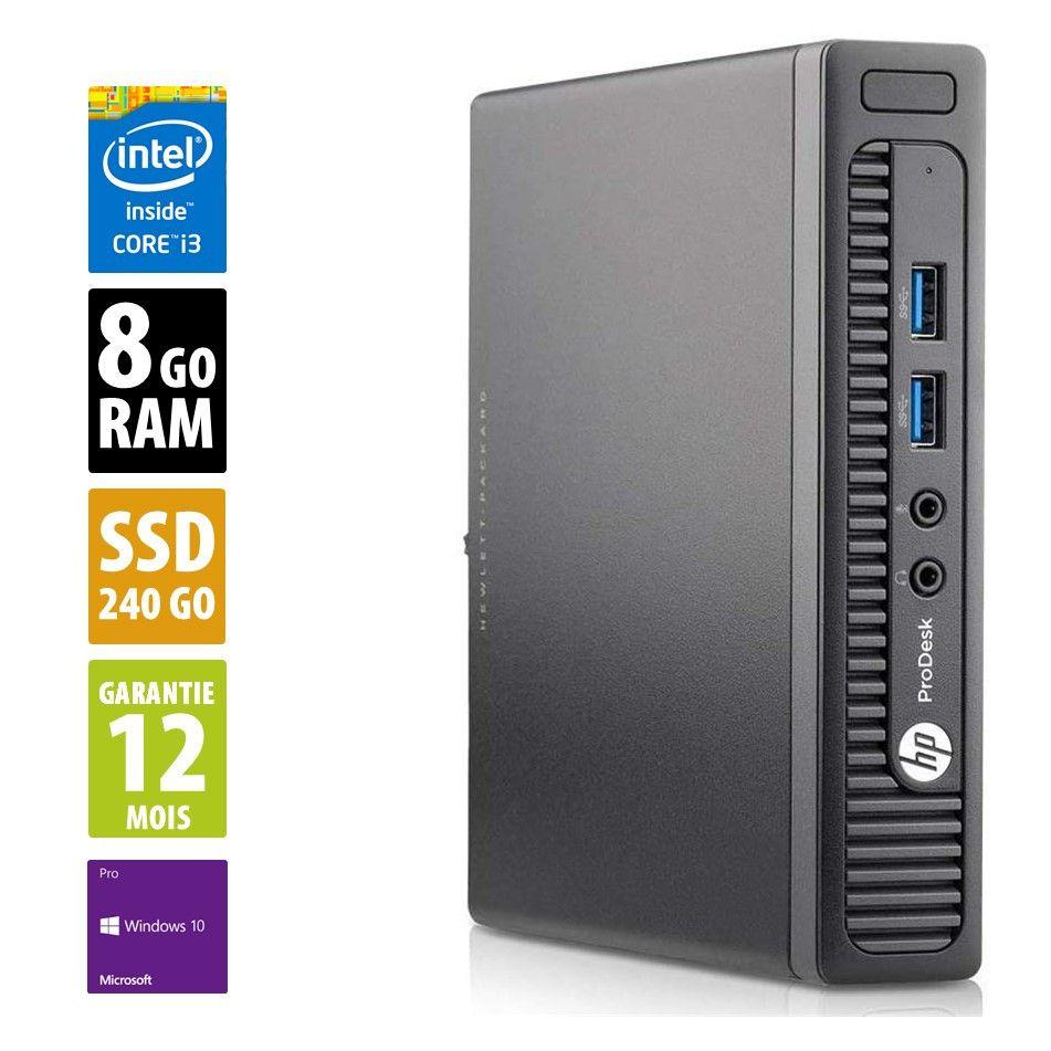 Ordinateur HP ProDesk 400 G1 DM USFF (i3-4160T, 8 Go de RAM, 240 Go en SSD, Windows 10 Pro) - reconditionné Grade A