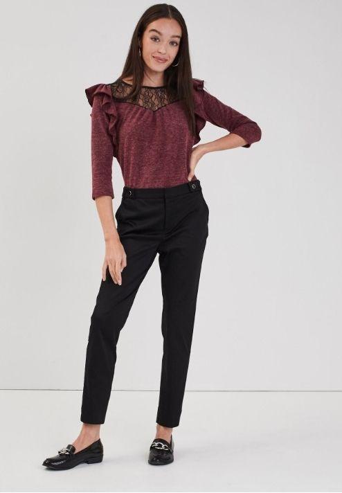 Pantalon cigarette femme - Taille 34 au 44, Noir