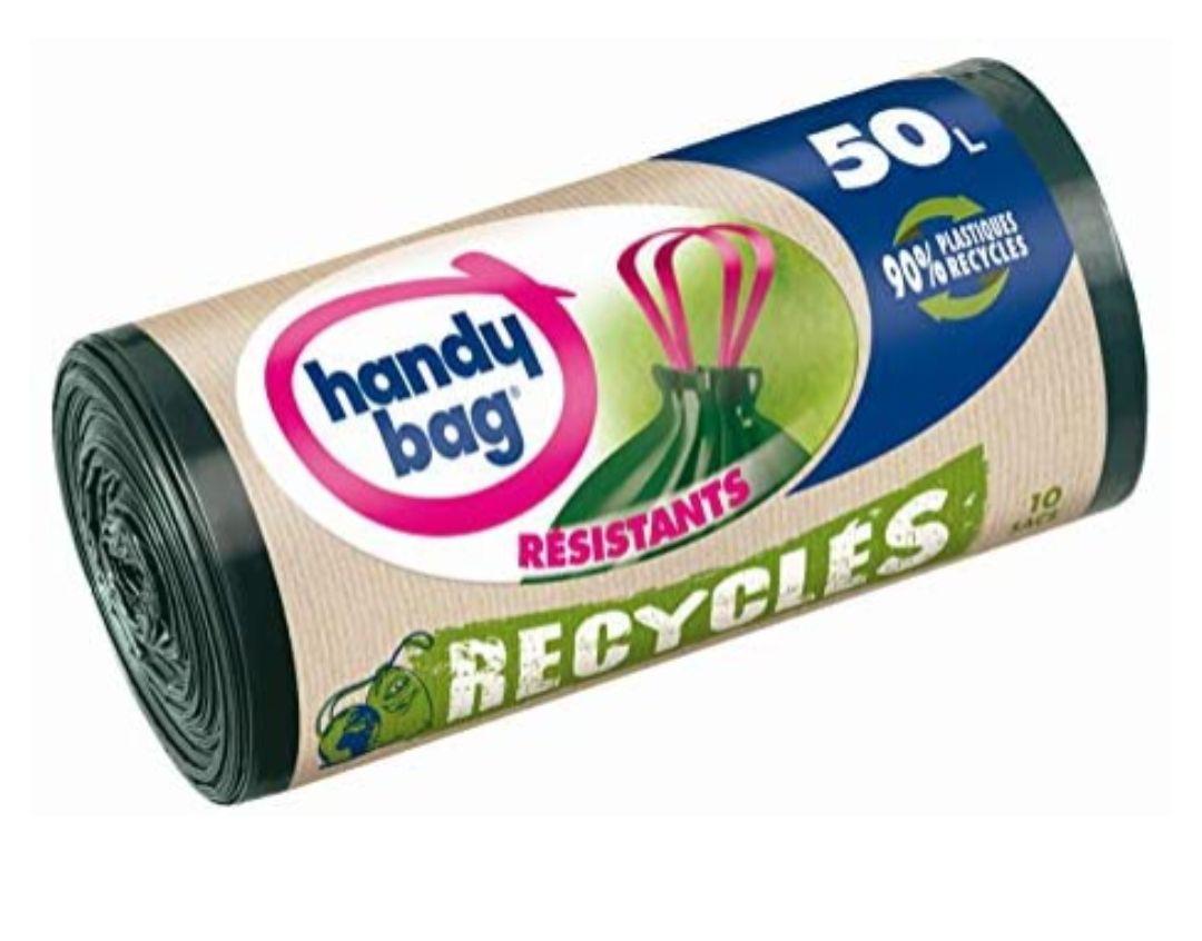 10 Sacs poubelle Handy Bag - 50L, Poignées Coulissantes