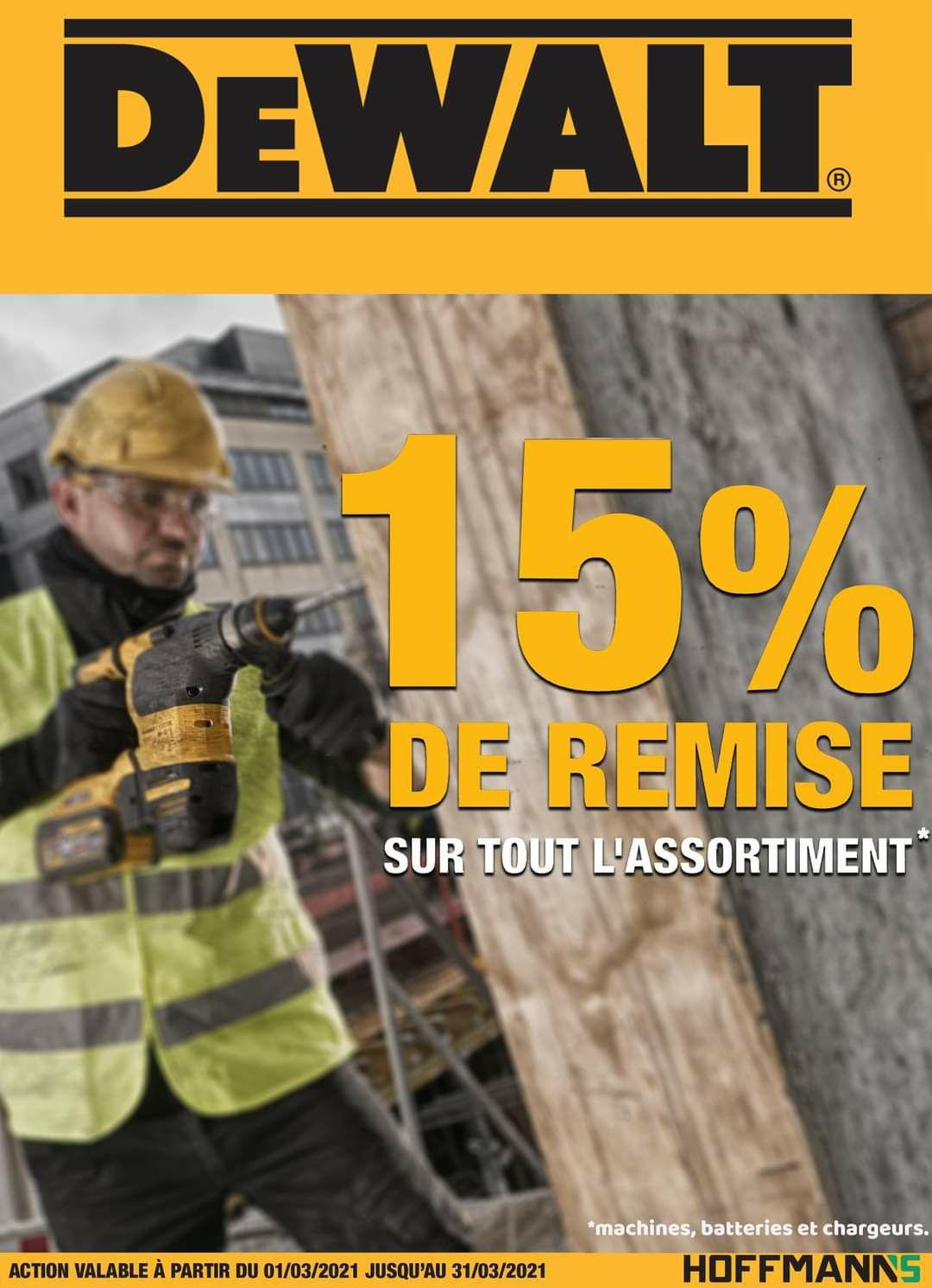 15% de réduction sur toute la gamme Dewalt - Hoffmann's (Frontaliers Luxembourg)