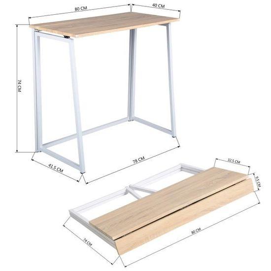 Bureau pliable Furnish1 - 80x40x74cm (vendeur tiers)