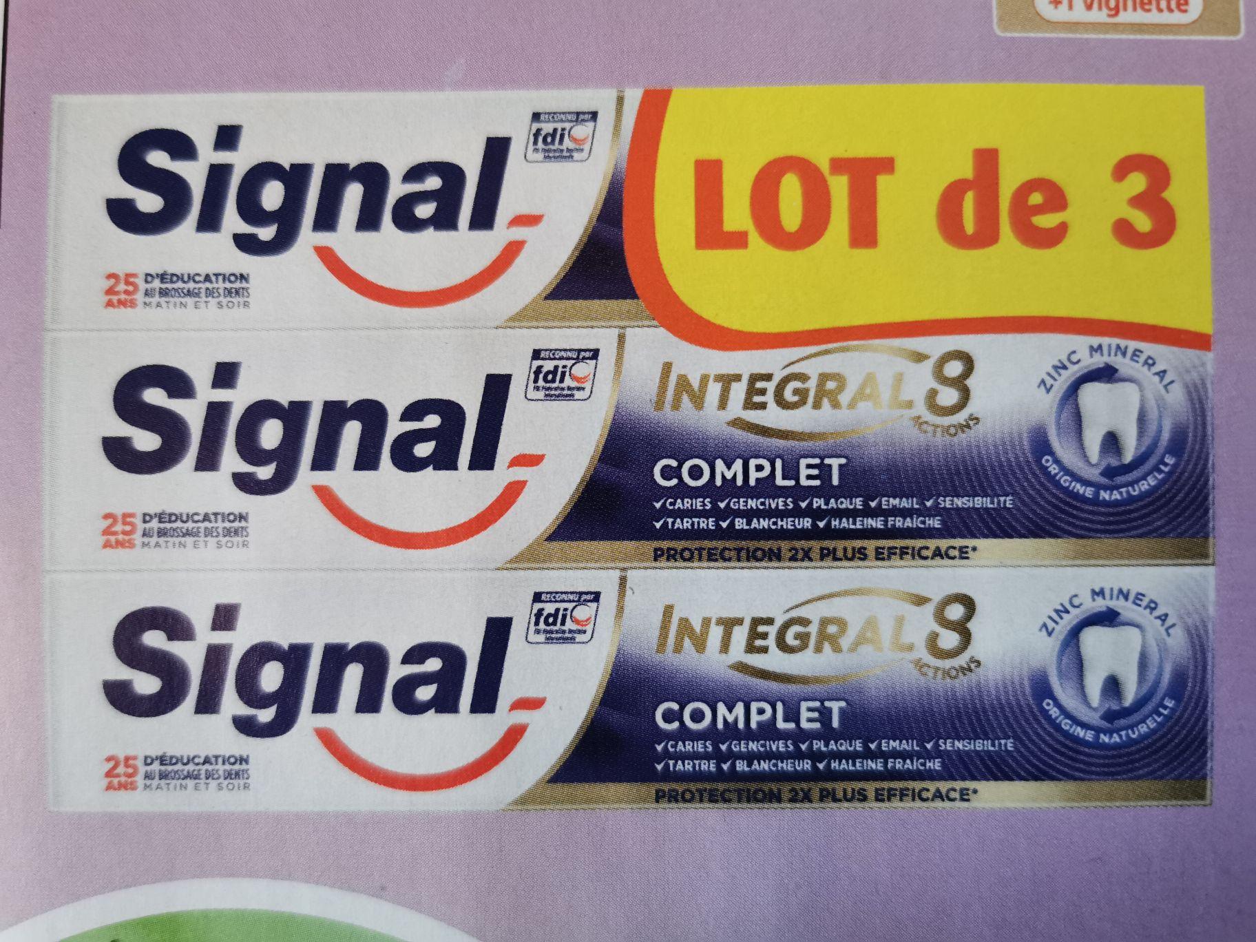Lot de 3 tubes de dentifrice Signal Integral 8 - Différentes variétés au choix, 3 x 75ml (Via 2.67€ sur la Carte de Fidélité)