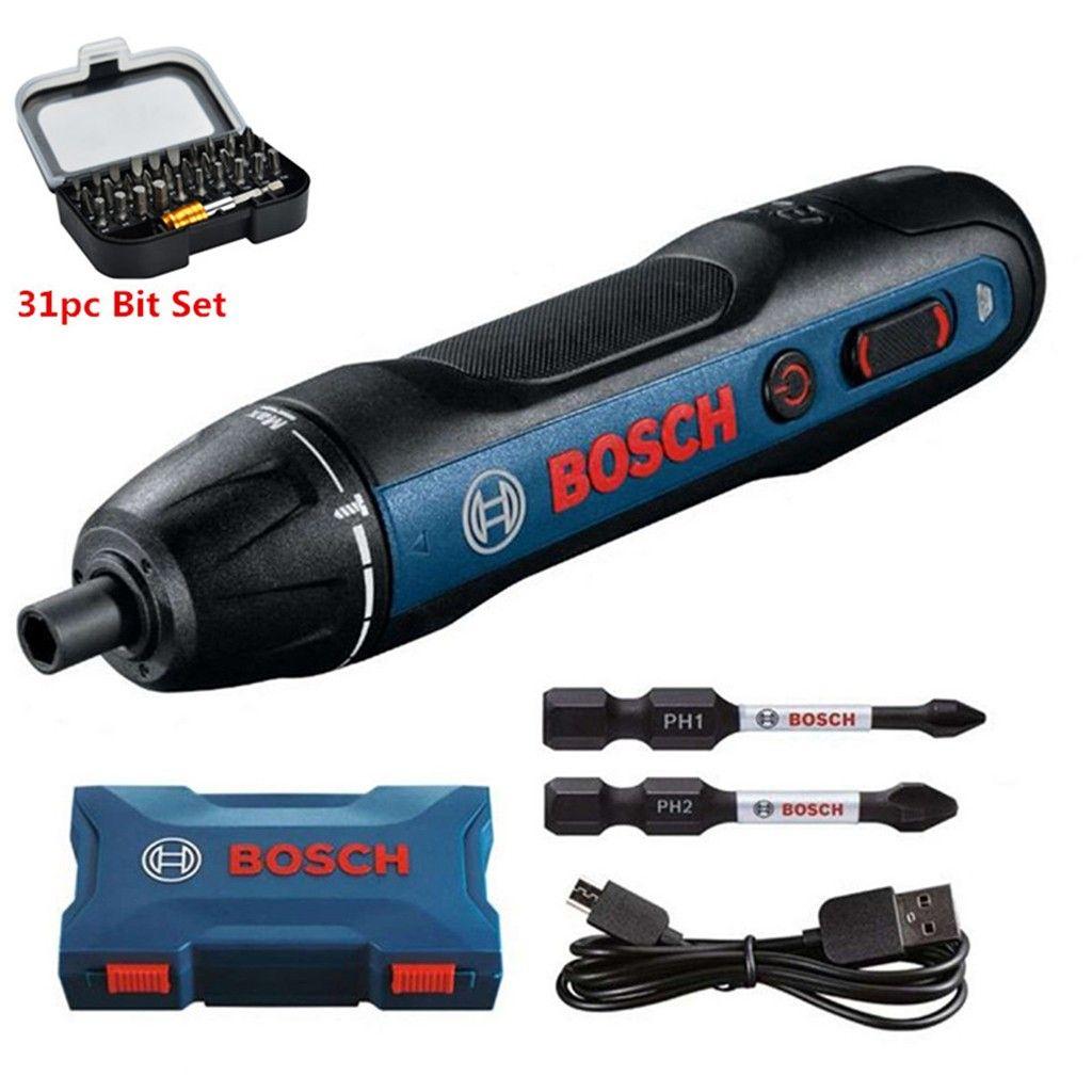 Tournevis sans-fil Bosch Professional GO 2 + Mallette + 31 Embouts courts + 3 embouts longs + Câble de charge USB
