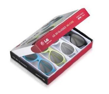 Pack de 4 paires de Lunettes 3D LG AG F315 - Noir/Blanc/Vert/Bleu