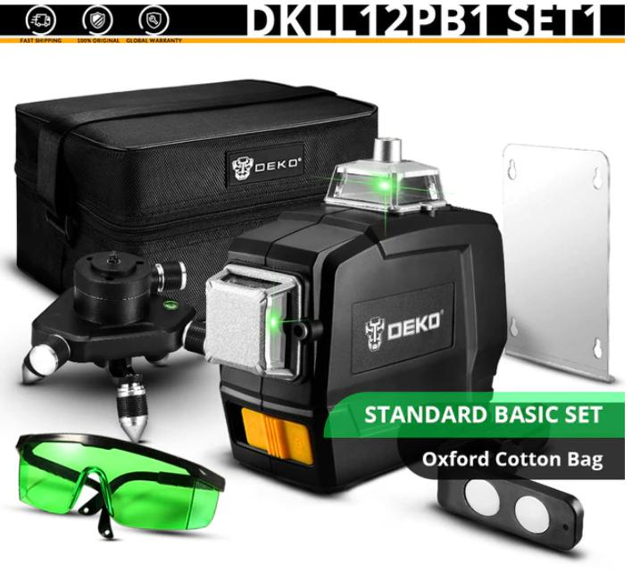 Niveau Laser Rotatif Deko DKLL12PB1 Set1 - 360 °, Vertical / Horizontal, 12 Lignes + Accessoires