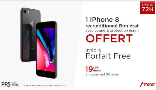 Smartphone Apple iPhone 8 (Reconditionné) + Forfait Free Mobile pendant 24 mois (Appels/SMS/MMS Illimités + 150 Go DATA)