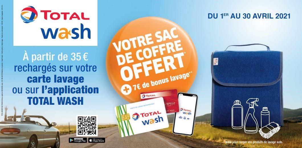 7€ de crédits bonus dès 35€ de recharge Total Wash, 17€ dès 65€ de recharge et 25€ dès 100€ de recharge + un sac de coffre offert
