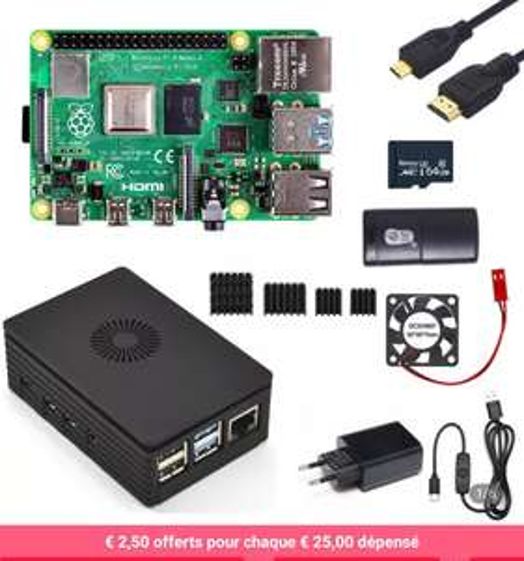 Bundle carte de développement Raspberry Pi 4 - 4 Go + Carte mémoire 64 Go + Accessoires (59.92€ avec le code FR328MD07)