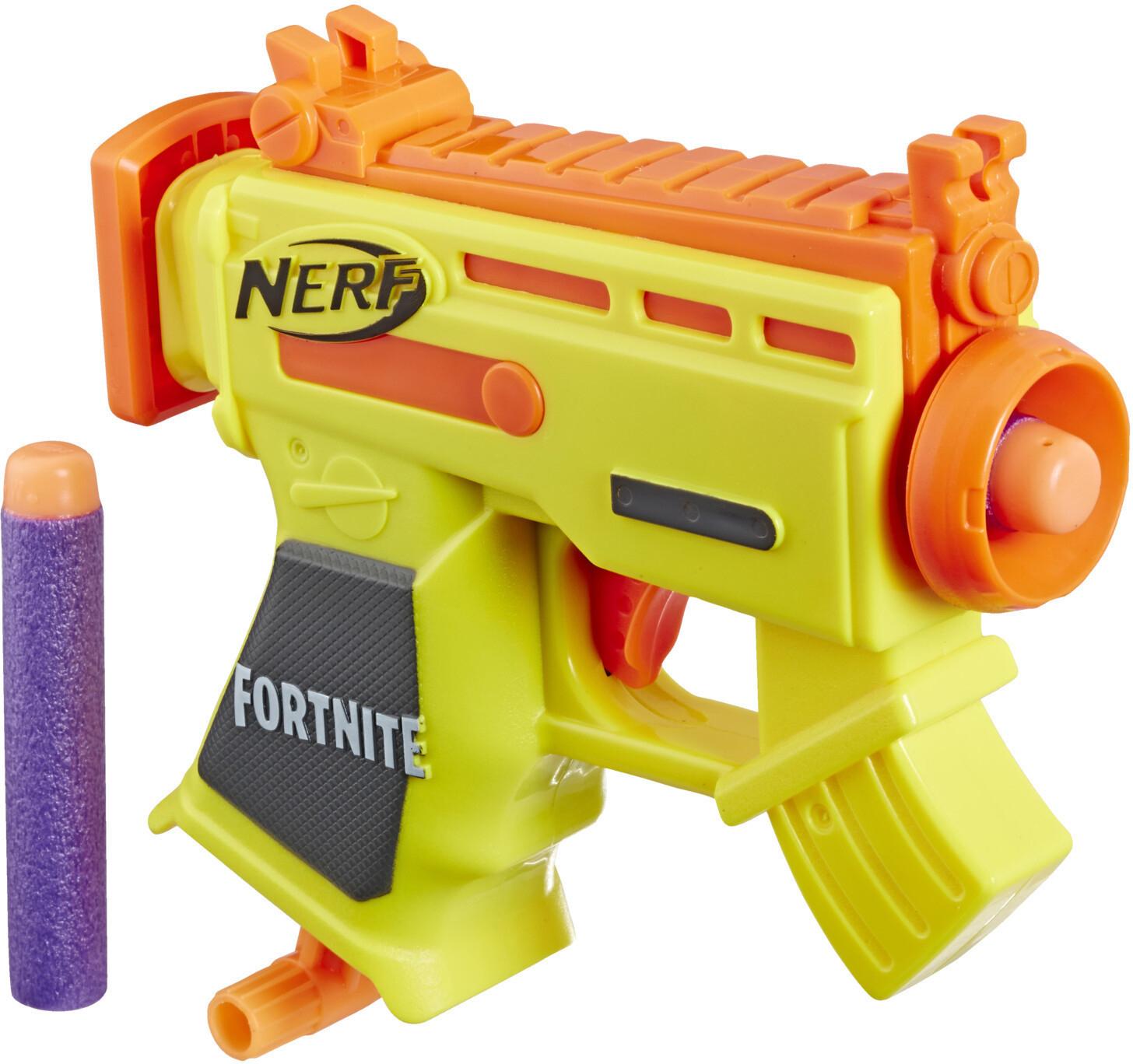 Pistolet à fléchettes Nerf Mirco Shots Fortnite AR-L (jaune), Battle Bus (bleu) ou rouge