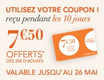 7,50€ de réduction dès 25€ d'achat