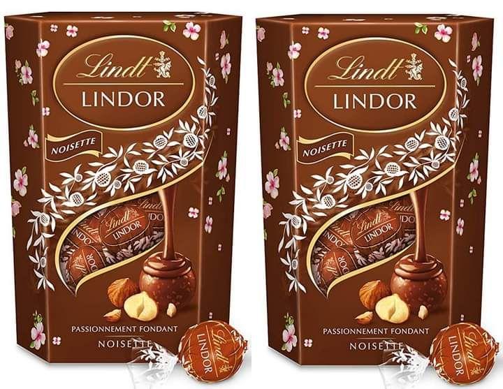 Lot de 2 chocolats lindt au lait noisette cœur fondant - 2x200g