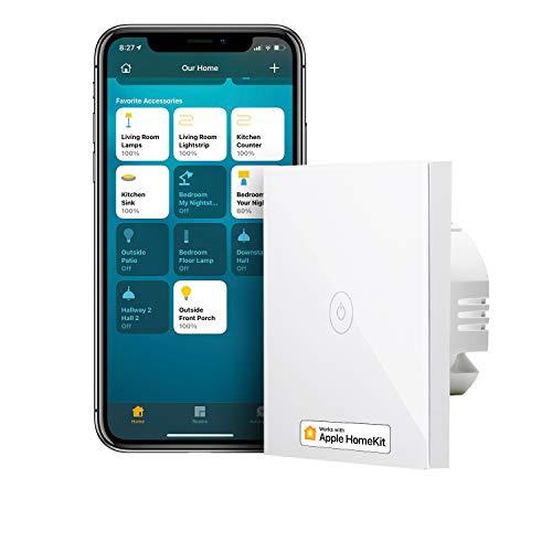 Interrupteur tactile connecté Meross MSS510XHK (Fil neutre requis) - Compatible Apple Homekit, Alexa, Google Home (Vendeur Tiers)