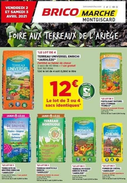 Lot de 3 ou 4 sacs de terreaux parmi une sélection - Bricomarché de Montgiscard (31)