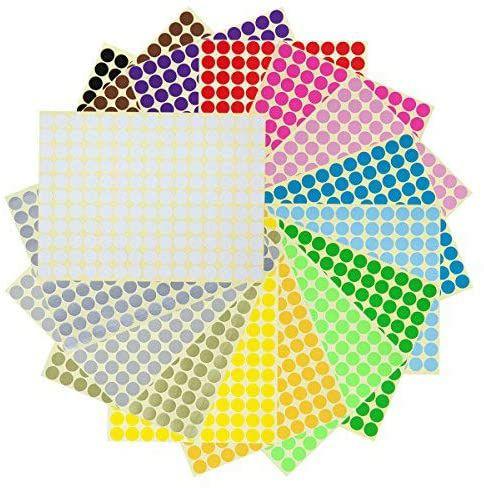 Lot de 5280 gommettes rondes autocollantes multicolores LAOYE - 1cm (Vendeur Tiers)