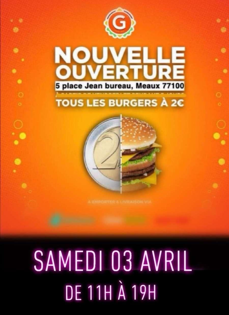 Tous les burgers à 2€ - G La Dalle Meaux (77)