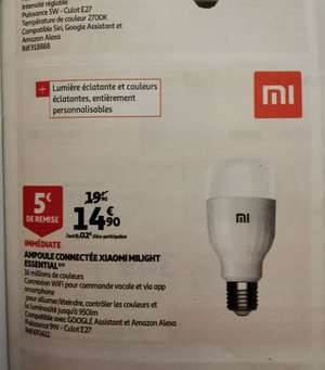 Ampoule LED connectée Xiaomi Mi Smart Bulb Essential - E27, 9W, 80-950 LM, 1700-6500 K (Blanc et Couleurs)