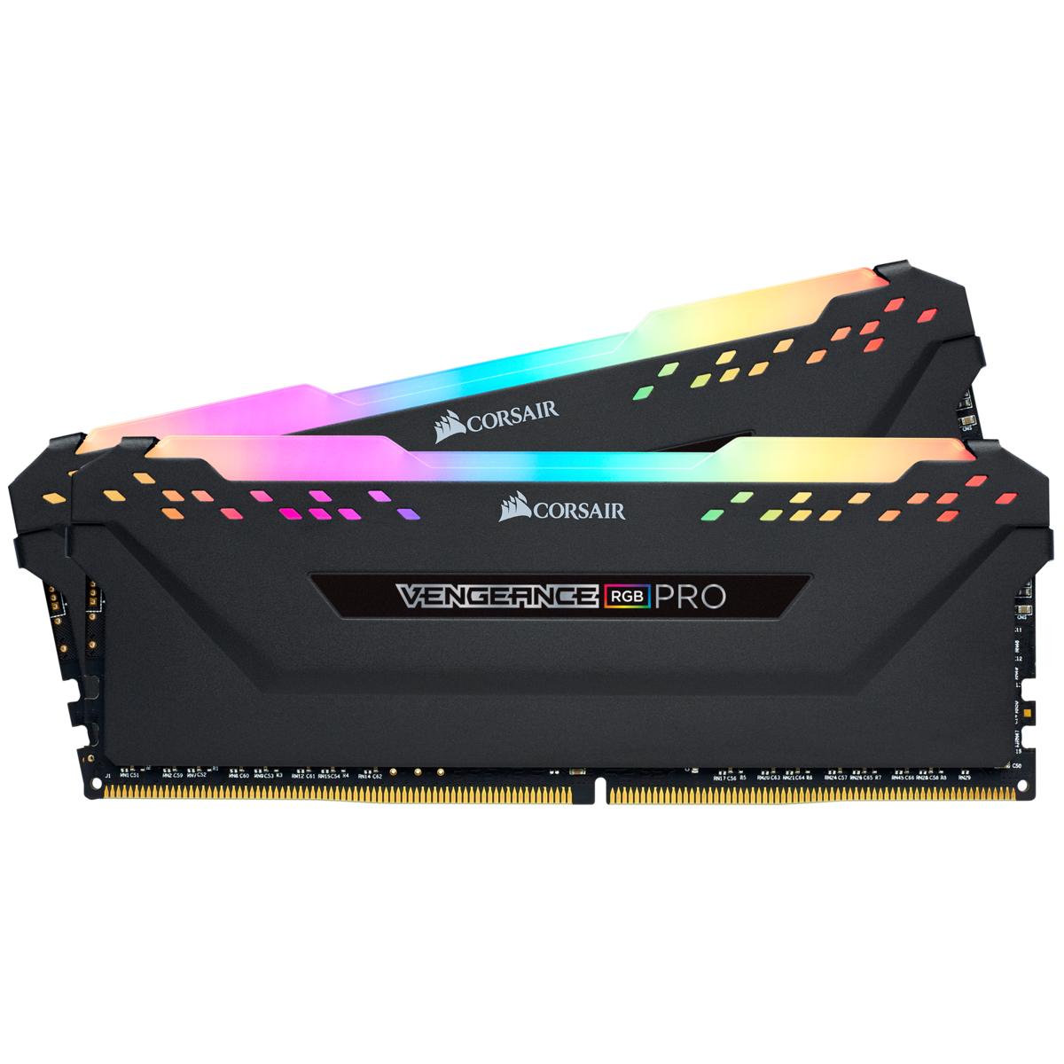 Kit mémoire RAM DDR4 Corsair RGB Pro - 32Go (2 x 16 Go) - 3200MHz, C16 (CMW32GX4M2E3200C16)