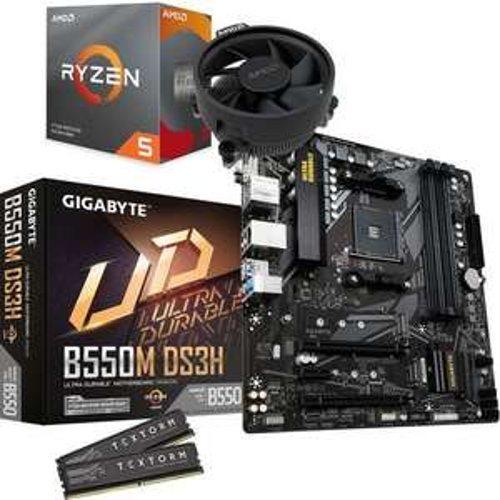 Kit Évo Processeur AMD Ryzen 5 3600 + Carte mère Gigabyte B550M DS3H + 16 Go (2 x 8) de RAM Textorm (3200 MHz)