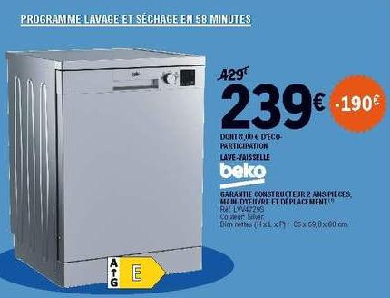 Lave-vaisselle Beko LVV4729S - 14 couverts, Classe E, Argent