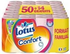 Pack de 64 rouleaux de papier toilette Lotus Confort Aquatube
