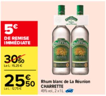 2 Bouteilles de Rhum blanc de la Réunion Charrette 49%.vol - 2 x 1 litre