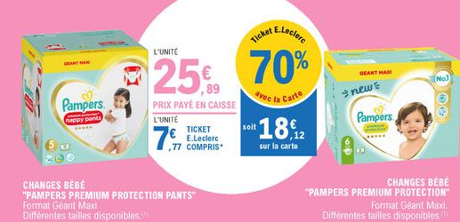 Paquet de Couches Pampers Premium Protection ou Premium protection pants (Via 18.12€ sur la carte fidélité)