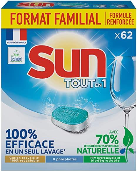 Paquet de 62 tablettes lave-vaisselles Sun tout en 1 - différentes variétés (via 6.36€ sur la carte fidélité)