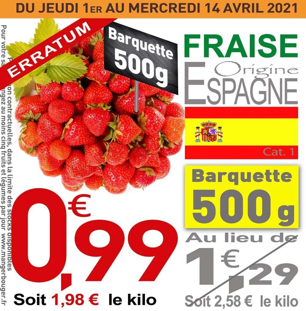Barquette de fraises - 500 g (Origine Espagne)