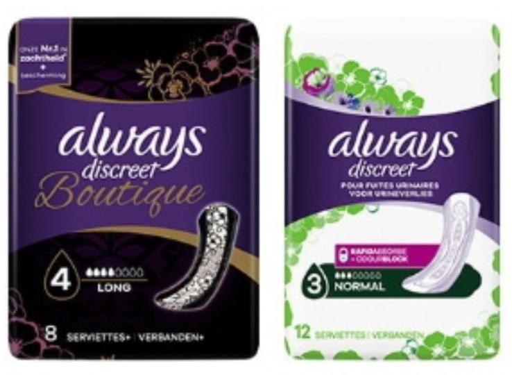 """Sélection de produits en promotion - Ex : 2 Paquets de Serviettes """"Always Discreet"""" OU """"Discreet Boutique"""" (via BDR)"""