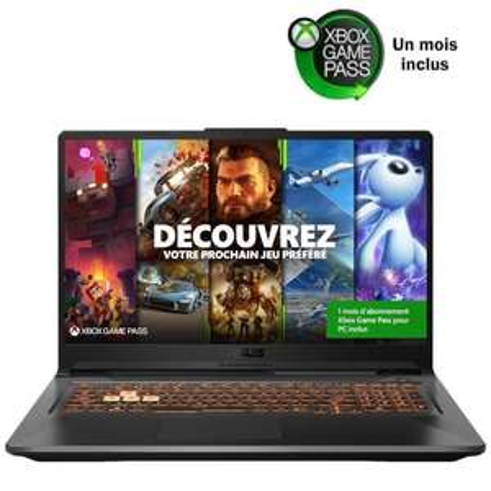 "PC Portable gaming 17"" Asus A17-TUF706IU-H7282T - Full HD 120 Hz, Ryzen 5 4600H, RAM 8 Go, SSD 512 Go, GTX 1660 Ti 6 Go, Windows 10"