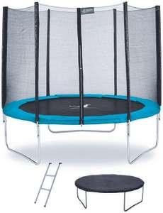 Trampoline Kangui Twin Ø 305cm - Bleu - avec filet, échelle, couverture de protection