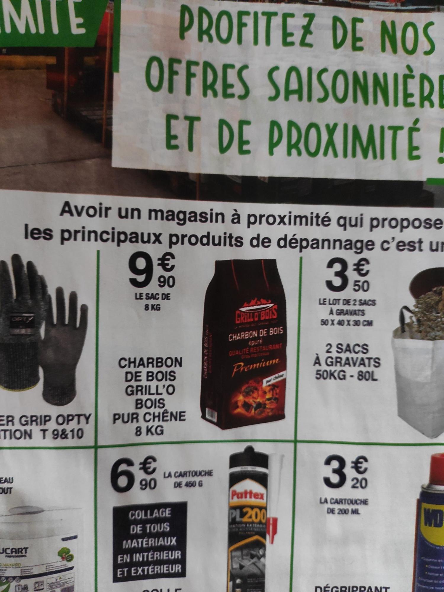 Charbon de bois Grill'o bois pur chêne (8 Kg) - Chrétien Matériaux Hauts de France