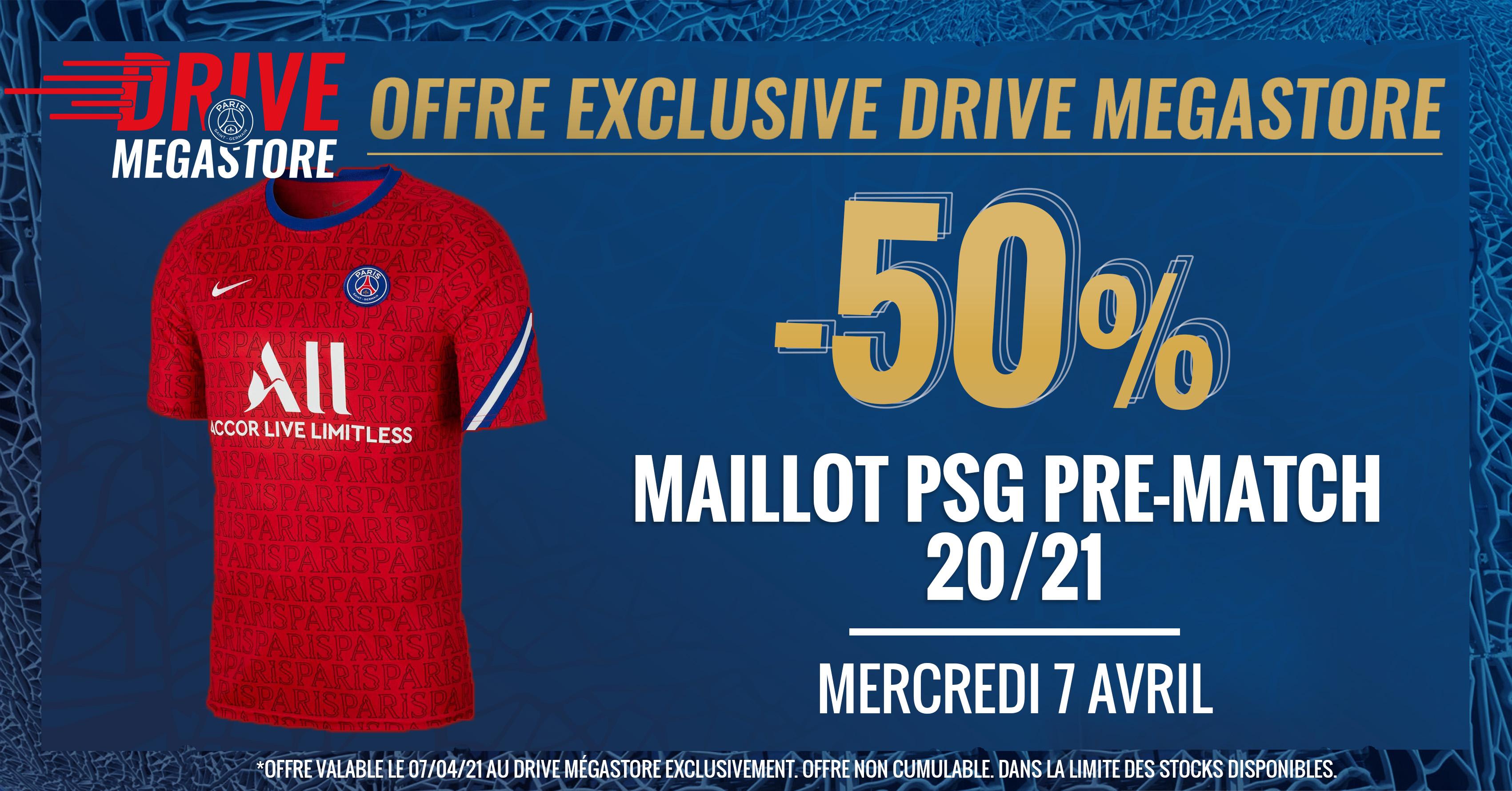 Sélection d'offres promotionnelles - Ex : 50% de réduction sur le maillot PSG pré-match - Paris (75)