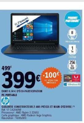 """PC Portable 17.3"""" HP 17-CA2040NF - HD+, Ryzen 3 3250U, 8 Go RAM, 256 Go SSD + 1 To HDD, Windows 10"""