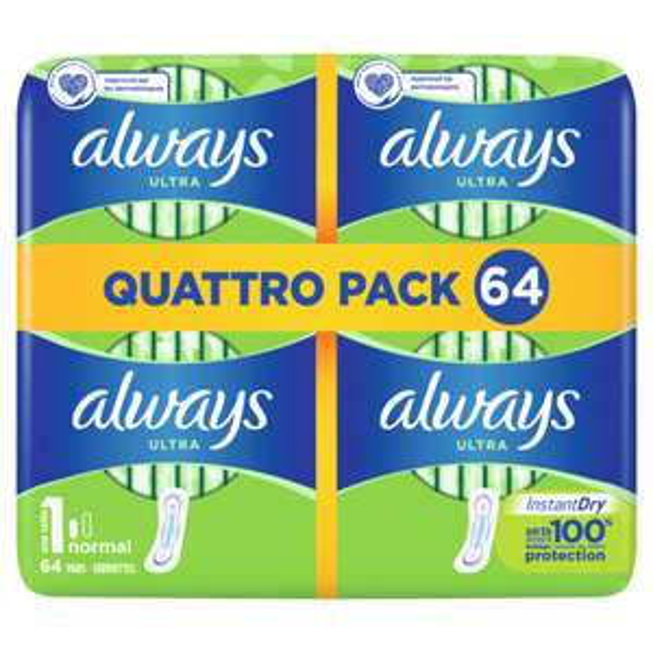 Lot de 64 serviettes hygiéniques Always Ultra Normal (Autres modèles disponibles) - Via 4.41€ sur la carte fidélité
