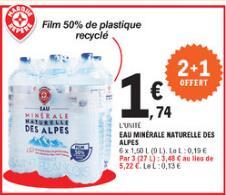 3 Packs de 6 Bouteilles d'eau minérale naturelle des Alpes - 18x 1.5L