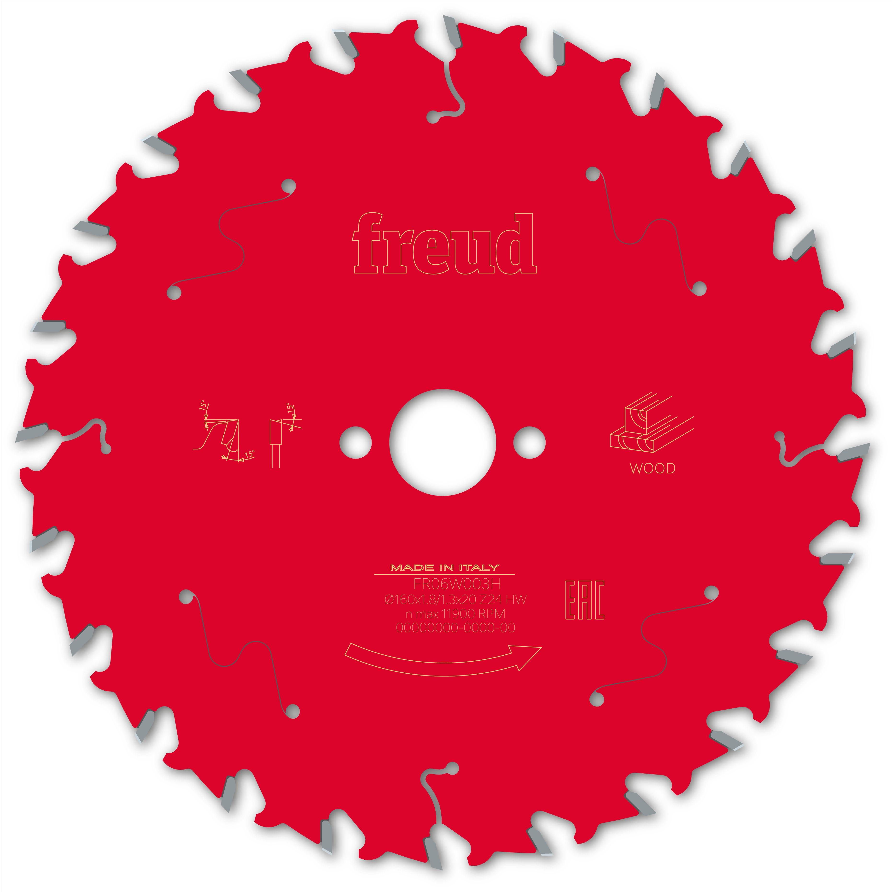 Lame de scie circulaire pour bois Freud F03FS09675 -- ø160mm, 24 dents