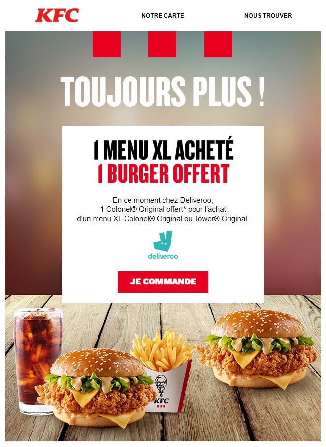Un burger Colonel Original offert pour tout achat d'un menu XL Colonel Original ou Tower Original (dans une sélection de restaurants KFC)