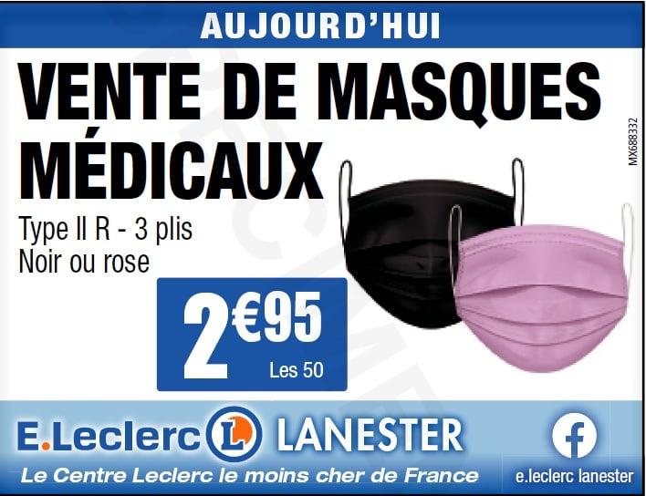 Boite de 50 masques jetables - Type II R, 3 Plis - Noir ou Rose (Lanester 56)