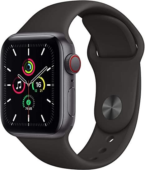 Montre Connectée Apple Watch Se - GPS + Cellular, 40 mm, Gris sidéral, Bracelet Sport Noir