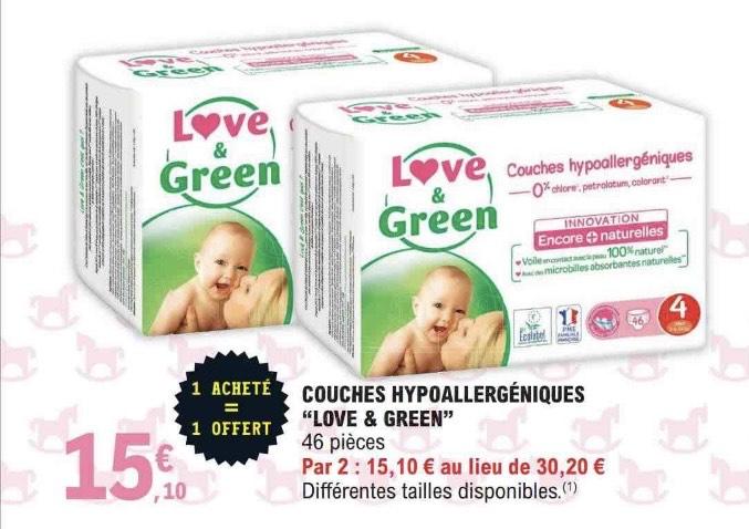 2 Packs de 46 Couches hypoallergéniques Love & Green