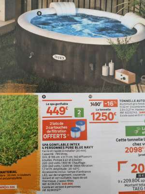 SPA Intex Pure Blue Navy 4 personnes + 2 Lots de Cartouche de Filtration