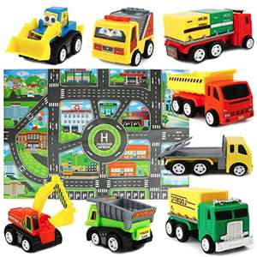 Lot 8 camions avec Tapis de Jeu Sanlebi (Vendeur Tiers)