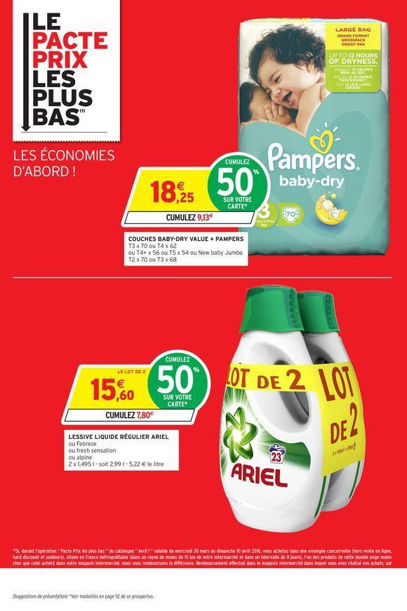 Couches Pampers (via 9.13€ sur la carte de fidélité) - différentes sortes